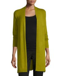 Eileen Fisher - Green Stretch Knit Long Cardigan - Lyst