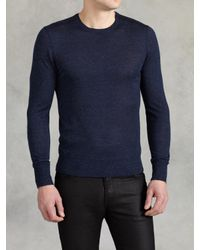 John Varvatos - Blue Merino Silk Crewneck for Men - Lyst