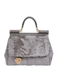 Dolce & Gabbana | Gray Mamma Xiangao Fur Top Handle Bag | Lyst
