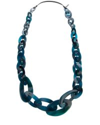 Monies - Blue Chain Link Necklace - Lyst
