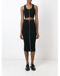 T By Alexander Wang - Black Ribbed Knit Cropped Top - Lyst