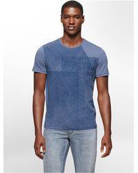 Calvin Klein - Blue Jeans Slim Fit Grid Textured Logo Print T-shirt for Men - Lyst