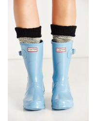 Hunter   Blue Original Short Gloss Boot   Lyst
