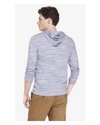 Express | Blue Space Dyed Crossover Neck Hoodie for Men | Lyst