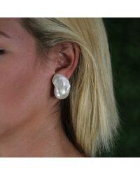 Yvel - White Baroque Fresh Water Pearl Earrings - Lyst