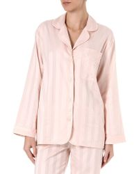 Bodas - Pink Shadow Stripe Cotton Pyjama Shirt - Lyst