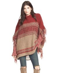 Free People Brown 'labyrinth' Stripe Colorblock Poncho