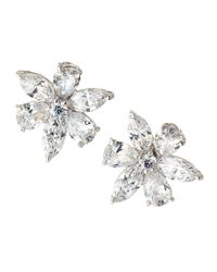 Fantasia by Deserio | Metallic Cz Flower Cluster Earrings | Lyst