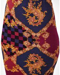 ASOS - Blue Pencil Skirt in Baroque Print - Lyst