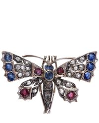 Kojis - White Gold Diamond Butterfly Brooch - Lyst