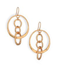 Tory Burch | Metallic Hammered Drop Hoop Earrings | Lyst
