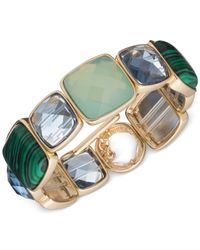 Anne Klein - Gold-tone Green Stone Stretch Bracelet - Lyst