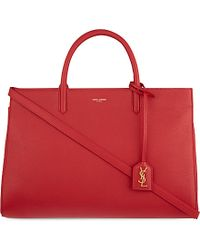Saint Laurent | Red Cabas Rive Gauche Medium Leather Tote | Lyst