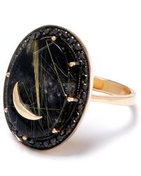 Andrea Fohrman - Metallic Gold Onyx And Rutliated Quartz Moon Ring - Lyst