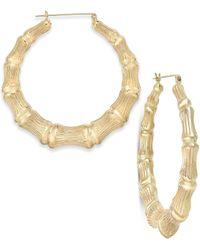 Macy's - Gray Bamboo Style Hoop Earrings In 10k Gold - Lyst
