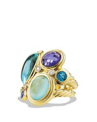 David Yurman - Mosaic Ring With Blue Topaz, Milky Aquamarine, And Diamonds In Gold - Lyst