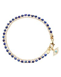 Astley Clarke | Blue Biography Evil Eye Lapis Lazuli 18ct Gold Vermeil Friendship Bracelet | Lyst