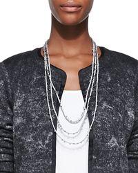 Eileen Fisher - Metallic Beaded Silk Cord Necklace - Lyst