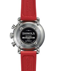 Shinola | Red 42mm Runwell Sport Chronograph Watch With Rubber Strap | Lyst