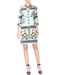 Etro - Multicolor Split-neck 3/4-sleeve Watercolor-print Silk Dress - Lyst