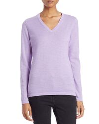 Lord & Taylor | Pink Plus Merino Wool Basic V-neck Sweater | Lyst