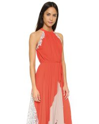 Saloni - Pink Iris Lace Dress - Lyst