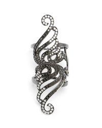 Gaydamak - Black 9k Oxidised Gold And Diamond Bondage Ring - Lyst