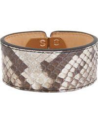 Balenciaga - Brown Python Padlock Bracelet - Lyst