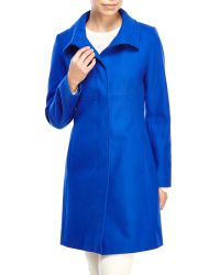 Via Spiga | Blue Stand Collar Wool Coat | Lyst