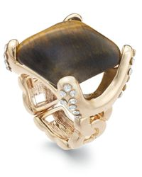 INC International Concepts | Metallic Gold-tone Faux-tiger's Eye Square Ring | Lyst