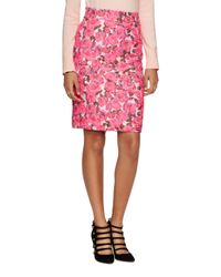 kate spade new york | Pink Rose Brocade Pencil Skirt | Lyst