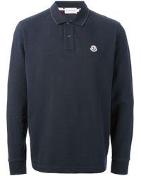 Moncler - Blue Long Sleeved Polo Shirt for Men - Lyst