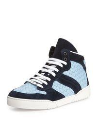 Bottega Veneta - Blue Woven Leather High-Top Sneaker for Men - Lyst
