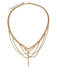 Chan Luu | Metallic Draped Mixed Chain Bib Necklace | Lyst