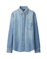 Uniqlo - Blue Women's Denim Long Sleeve Shirt - Lyst