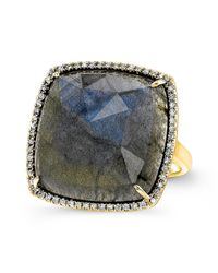 Anne Sisteron | Metallic 14kt Yellow Gold Labradorite Diamond Cushion Cut Cocktail Ring | Lyst