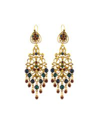 Jose & Maria Barrera | Multicolor Filigree Chandelier Drop Earrings | Lyst