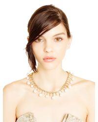 Oscar de la Renta | White Crystal Golden Shadow Pearl Sunburst Necklace | Lyst