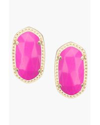 Kendra Scott | Purple 'ellie' Oval Stud Earrings - Magenta | Lyst