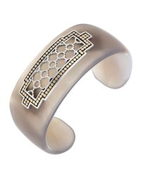 John Hardy | Metallic Carved Agate Cuff W/ Geometric Station | Lyst