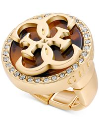 Guess | Metallic Gold-tone Stretch Cocktail Ring With Clear Crystal Accents And Epoxy Logo | Lyst