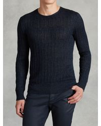 John Varvatos | Blue Linen Crewneck Sweater for Men | Lyst