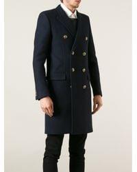 Saint Laurent | Blue Double Breasted Coat for Men | Lyst