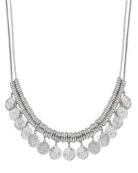Lucky Brand - Metallic Hammered Coin Double Necklace - Lyst