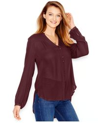 Lucky Brand | Purple Lucky Brand High-low Peasant Blouse | Lyst