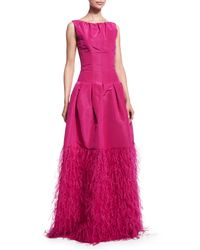 Oscar de la Renta - Pink Sleeveless Ruched-neck Silk Faille Gown - Lyst