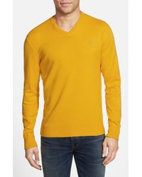 Victorinox - Yellow 'signature' Tailored Fit V-neck Sweater for Men - Lyst