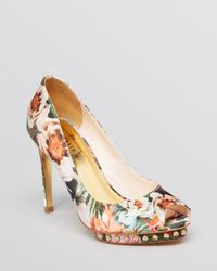 Ted Baker - Multicolor Peep Toe Platform Pumps Leoar High Heel - Lyst