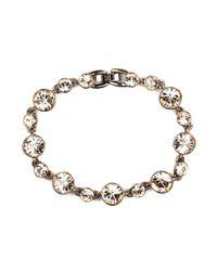 Givenchy | Metallic Goldtone Smoky Quartz Swarovski Element Stretch Bracelet | Lyst