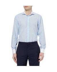 Turnbull & Asser - Blue Slimfit Contrastcollar Cotton Shirt for Men - Lyst